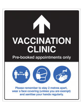 Vaccination Clinic (arrow up) Pre-booked appointments only
