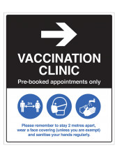 Vaccination Clinic (arrow right) Pre-booked appointments only