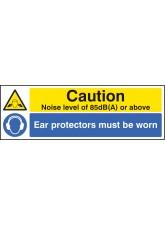 Noise Level 85dB(A) Ear Protectors Worn