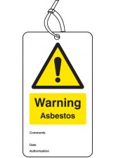 Warning Asbestos - Double Sided Safety Tag (Pack of 10)
