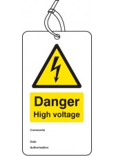 Danger High Voltage - Double Sided Safety Tag (Pack of 10)