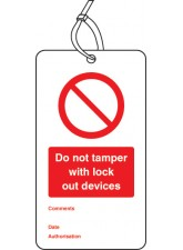 Lockout Tag - Do Not Tamper with Lock Out Devices - 80 x 150mm (Pack of 10)