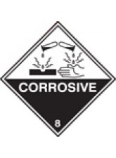 Roll of 100 Corrosive 8 Labels - 100 x 100mm