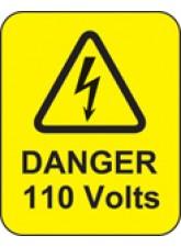 Danger 110 Volts Labels