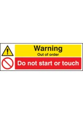 Warning Out of Order Do Not Start Or Touch
