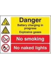 Battery Charging in Progress No Smoking No Naked Lights